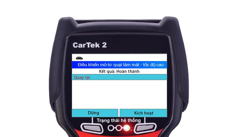 Kích hoạt thành công quạt làm mát bằng máy chẩn đoán Cartek 2