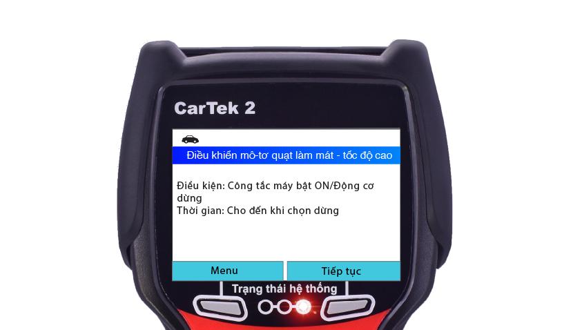 Kiểm tra quạt làm mát bằng máy chẩn đoán Cartek 2