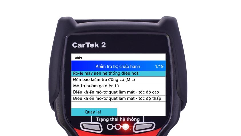 Các cơ cấu có thể kích hoạt trên máy chẩn đoán Cartek 2