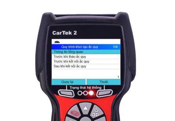 Lần lượt thực hiện các thao tác thay thế ắc quy theo hướng dẫn trên máy chẩn đoán Cartek 2