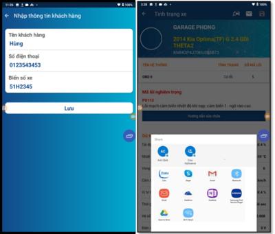 App gửi báo cáo cho khách hàng qua các ứng dụng trên điện thoại