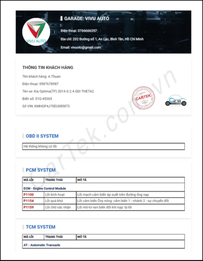 Báo cáo được gửi cho khách hàng